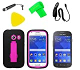 Heavy Duty Hybrid Phone Case Cover Cell Phone Accessory + Car Charger + Extreme Band + Stylus Pen + LCD Screen Protector Guard + Yellow Pry Tool for Straight Talk Tracfone Net 10 Samsung Galaxy Ace Style S765C SM-G310 (Black/Pink)