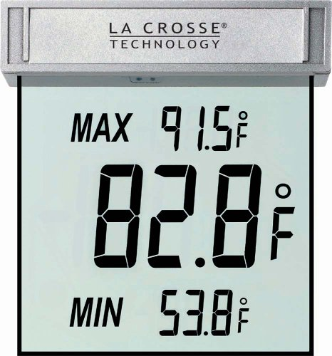 La Crosse Technology WS-1025 Detachable Bracket and Records MIN/MAX Temp & Auto Reset Digital Window Thermometer, Samsung, Silver