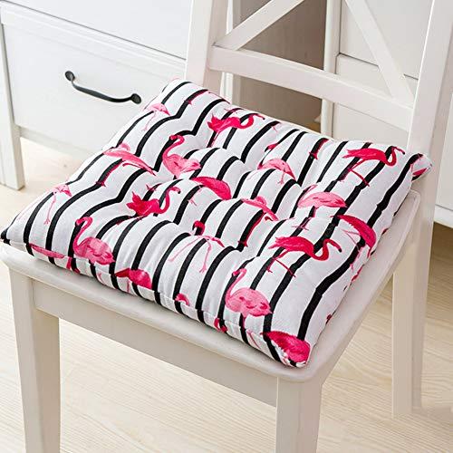 Leinen Getuftet Stuhl Pad Mit Krawatten, 3 Zoll Dicke Faser Gefüllt Gepolsterte Stuhl Kissen Sitzkissen Für Dining Stuhl Schulstuhl Autositz-Flamingo 50x50cm(20x20inch)