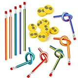 FEPITO 62 Pz bambini party Bag Filler Set, matite flessibile molle Bendy e gomme magia Bend Giocattoli Scuola Fun stazionario attrezzature per feste Favor