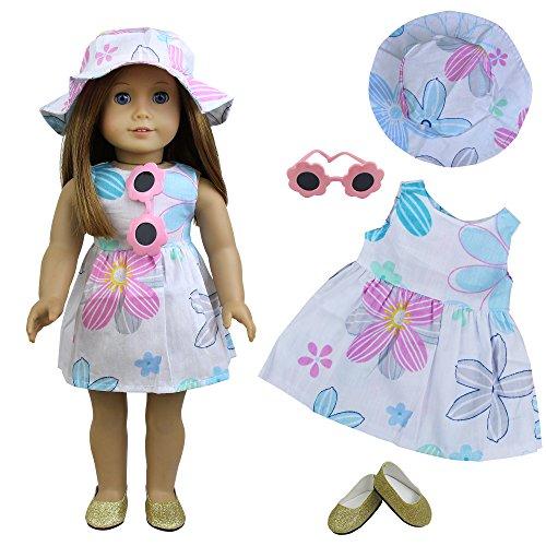 ZITA ELEMENT Ropa de Muñecas-4 Piezas Vestido Playa- Vestido + Sombrero + Gafas de Sol + Zapatos para Muñecas de 18 Pulgadas Americana Chica