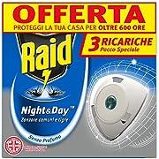 Raid Night & Day Ricarica, Antizanzare Elettrico, Repellente Zanzare Inodore a Sabbia Compressa, Confezioni da 3 x 1 Ricarica