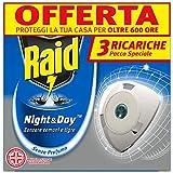 Raid Night & Day Tripla Ricarica - Antizanzare Elettrico - Confezione da 3 Ricariche, Senza profumo