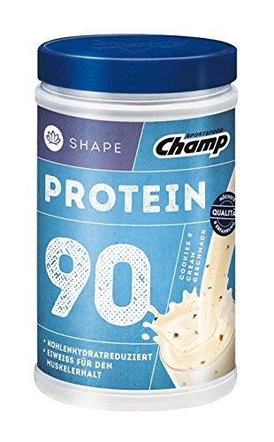 Champ Shape Protein 90 Eiweißshake, 24 g Protein pro Portion, Cookies - Cream, 390 g Portion