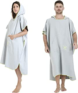 Winthome Changing Robe Towel Poncho with Pocket for Surfing Swimming Wetsuit Changing, Quick Dry & Light Weight (Grey)