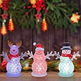 pearlstar Small Christmas Figurines with Color Changing LED Light Battery Operated for Table Decoration Set of 3 Acrylic Ornaments,4.5inch Reindeer, Santa, Snowman