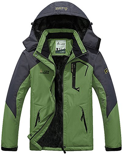 Skijacke Herren Skifahren Winter Jacke Ski Skifahren Snowboarden Windjacke Outdoor Wandern Soft Shell Warm Fleecefutter Arbeits Freizeit Angeln Waterproof Regenmantel Green Olive DE XL (Etikette 5XL)