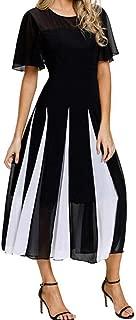 patchwork short sleeve round neck dress