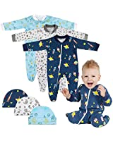 Lictin Baby Footed Pajamas (3-6M) - 100% Cotton 3pc Baby Long-Sleeved Romper Zipper Pajamas with 3pc Hat White/Blue/Navy