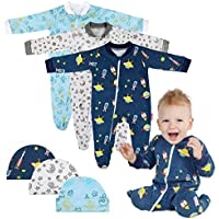 Lictin 6 Piezas Pijama para Bebé- Mameluco de Algodón con Cremallera con Puntos de Pegamento Antideslizantes para Pies,Pintura de Estrella para Bebes de 0-10 Meses (M(3-6 Meses))