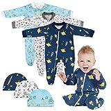 Lictin 6 Piezas Pijama para Bebé- Mameluco de Algodón con Cremallera con...