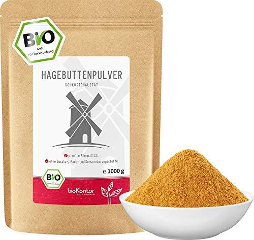 Hagebuttenpulver BIO 1000 g (1 kg) I Hagebutten vermahlen | 100% natürlich - ohne Zusätze I Rohkostqualität von bioKontor
