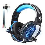 Beexcellent GM-2 Pro Gaming Over-Ear con micrófono, luces LED y control de volumen Cancelación de ruido de graves estéreo, para PS4 Xbox One, ordenador portátil, PC, Tablet(Azul)
