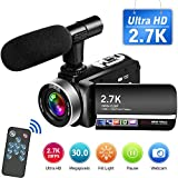 Videokamera 2.7K Camcorder Full HD 30MP Videokamera mit Mikrofon Fernbedienung Camcorder HD...