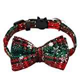 kuou Christmas Cat Collars, Adjustable 17-27cm with Bell Safety Release and Cat Collar Bow tie for Kitty, Puppy, and Small Pets (Red <span class='highlight'>Green</span> <span class='highlight'>Plaid</span> Patterns)