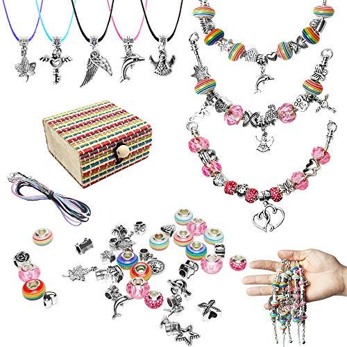 Charm Bracelet Making Set für Mädchen, DIY Jewellery Making Kit mit 3 Stück versilberten Armbandketten, Geburtstag, Party, Weihnachten Tolles Geschenk für 8-12 Jahre alte Teenager-Mädchen