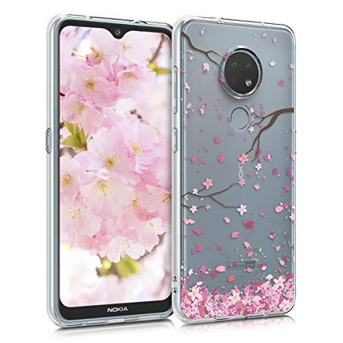 kwmobile Hülle kompatibel mit Nokia 7.2 - Hülle Handy - Handyhülle - Kirschblütenblätter Rosa Dunkelbraun Transparent