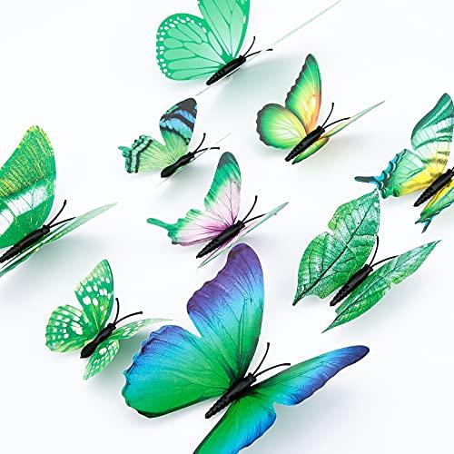 LUTER 24 Piezas Pegatinas De Pared De Mariposa 3d 4 Tamaños De Pegatinas De Pared De Mariposa Pegatinas De Pared Extraíbles Para Decoración Artística (Verde)