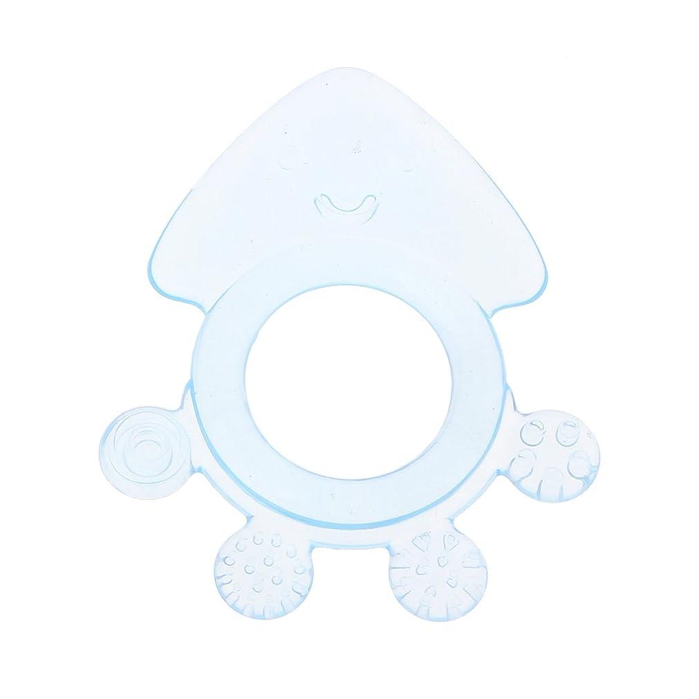 突き出す型付けるLanddumシリコーンおしゃぶりタコ赤ちゃんおしゃぶり赤ちゃん看護玩具かむ玩具歯が生えるガラガラおもちゃ - 青
