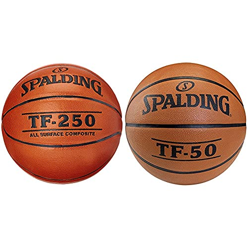 Spalding Tf250 In Sz.7 Balón De Baloncesto INT/out, Hombre, Naranja + Tf50 Outdoor 73-852Z Pelota De Baloncesto, Color Naranja, Talla 5