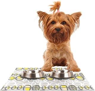 "Kess InHouse Gill Eggleston ""Benin Yellow Grey"" Feeding Mat for Pet Bowl, 24 by 15-Inch"