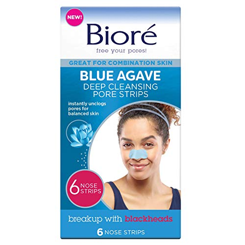 Biore Blue Agave Pore Strips, Nose Strips for Combination Skin, with Instant Blackhead Removal and Pore Unclogging, 6 Count, features C-Bond Technology, Oil-Free, Non-Comedogenic Use