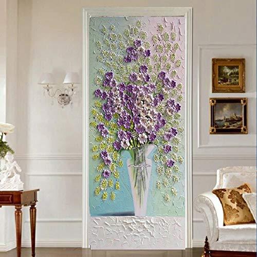 TMANQ Door Stickers 3D Wall Murals Wallpaper For Home Bedroom Decor Diy 77X200Cm Purple Cartoon Art Flowers Removable Pvc Self-Adhesive Door Decal Poster Decoration Wall Art Stickers