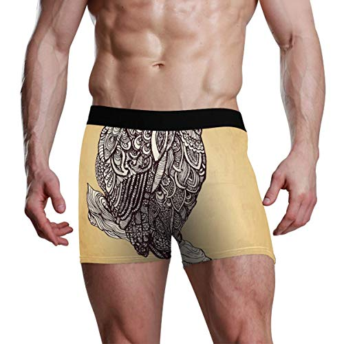 GOSMAO Herren Boxershort Boxer Ethnisches Eulenmuster Männer Unterhosen Unterwäsche,7,XXL