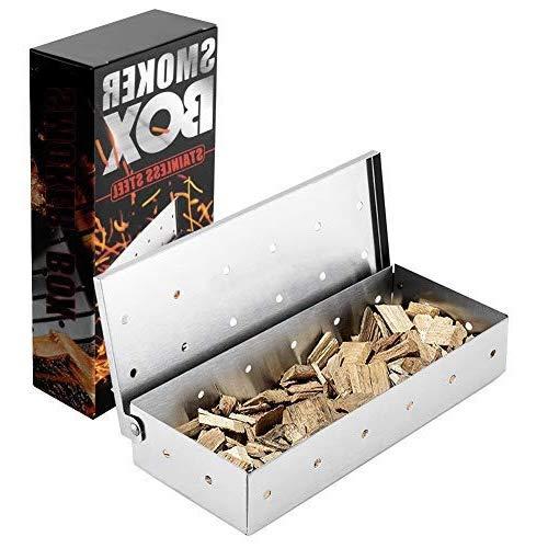 N\C Räucherbox, Edelstahl smokerbox mit Praktischem Klappdeckel, räucherbox gasgrill für Grillzubehör Geschenke für Grillliebhaber