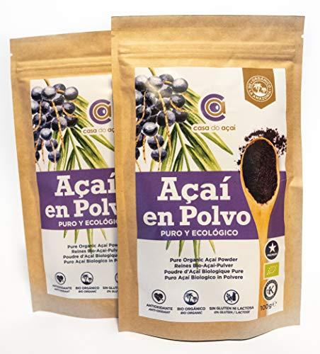 Açaí Puro Ecológico en Polvo, Pure Açaí Berry Organic Powder Biológico Orgánico, Bayas de Acai Organico en Polvo. Hecho 100% de la Pulpa de Açaí, Superalimento de Cultivo Nativo de la Amazonia… (200g)