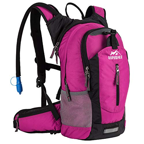 Insulated Hydration Backpack Pack with 2.5L BPA FREE Bladder, Lightweight Daypack Water Backpack For Hiking Running Cycling Camping, Commuter, Fits Men, Women, Kids, 18L Rose