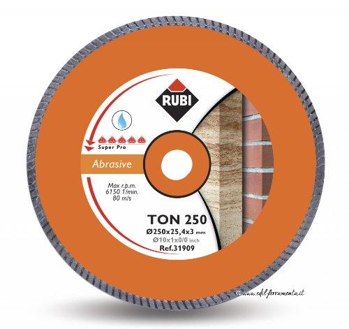 RUBI 31909 Disco Diamante material abrasivo turbo (TON) 250 SUPERPRO, Gris, 250 mm