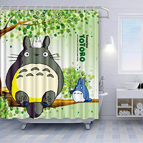 None brand Mein Nachbar Totoro Duschvorhang Cartoon Nettes Totoro Sitzt Auf GrüNen BäUmen Badezimmervorhang-W90xh180 cm.