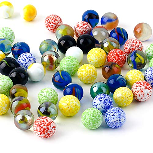 60PCS Colorful Glass Marbles,9/16 inch Marbles Bulk for Kids Marble Games,DIY and Home Decoration
