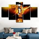 45Tdfc 5 Panel Wall Art Superhéroe Dragon Anime Película Amarillo Neon Saiyan Pintando la impresión de la Pintura en Lienzo Pictures para decoración de casa Pieza de Regalo de Firstwallart