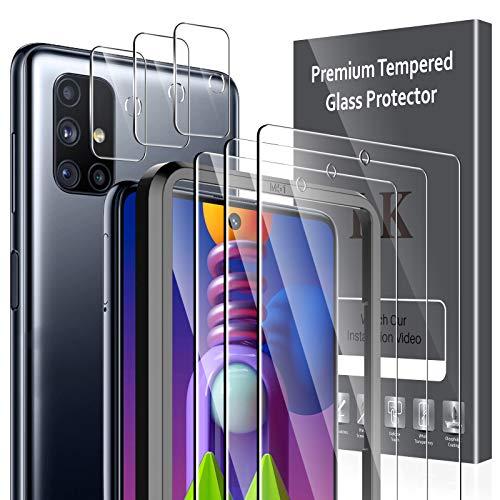 LK [ 3+3 Pezzi Pellicola Protettiva per Samsung Galaxy M51 Vetro Temperato + Samsung Galaxy M51 Protezione Fotocamera [Doppia Protezione, Alta Trasparente, Anti-Graffio]