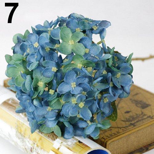 geshiglobal Flor De Seda Artificial De Imitación Hortensia Hojas Planta Paisaje Bonsai DIY Wedding Party Garden Home Office Decor Azul Oscuro
