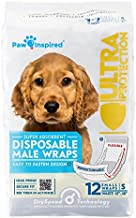 Paw Inspired Disposable Male Dog Wraps, Belly Band for Dogs | Disposable Dog Diapers | Belly Bands for Male Dogs (12 Count, Small)