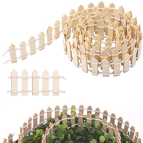 Valla de jardín en miniatura, valla de madera para decoración de jardín, bonsáis, adornos pequeños, vallas, macetas, macetas, macetas, decoración para micropaisajes, manualidades, 1 m