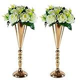LANLONG Lot de 2 vases en métal pour Table de Mariage, Centre de Table, Arrangements Floraux artificiels, fête d'anniversaire, événement, allée, décoration de Maison, doré, 2X42cm