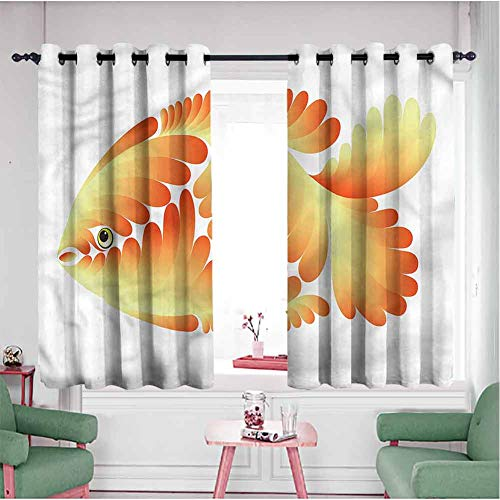 Aquarium Room Divider Curtian Panels 45 inch Long, Artistic Abstract Goldfish Double Layer Curtians(55x45 Inch, Multicolored)