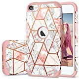 iPod 7 Case 2019, iPod 6 Case, iPod 5 Case, Fingic Rose Gold Marble Design Shiny Glitter Bumper Hard PC Soft Rubber Silicone Anti-Scratch Shockproof Protective Case for Apple iPod Touch 5th/6th/7th