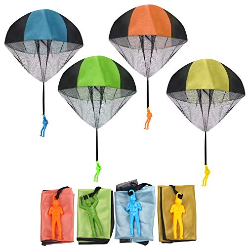 FUNVCE Parachute Hand Throw Toy Set, 4pcs Parachute Toy for Kids, Outdoor...