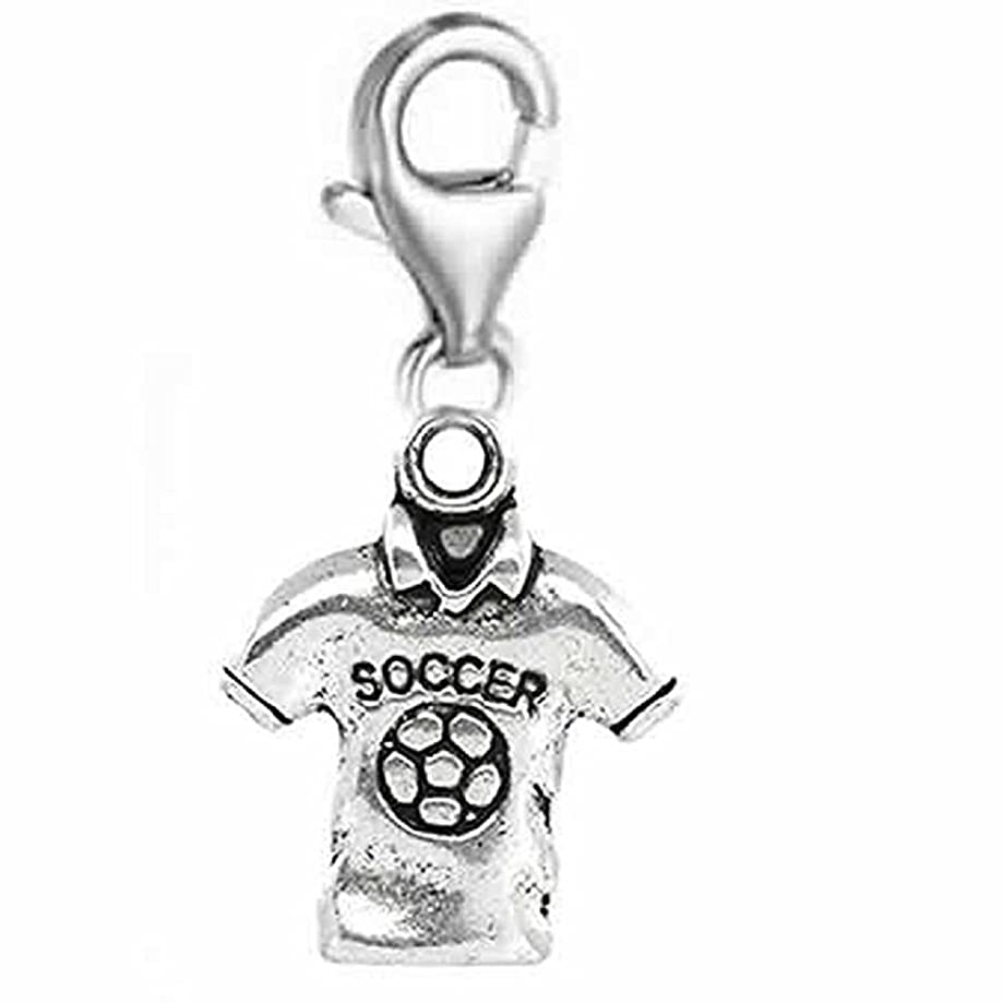 GemStorm Silver Plated Dangling Lobster Clasp Soccer Shirt Clip on Chain Bracelets