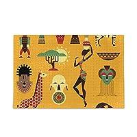 Akiraki ジグソーパズル アフリカ 民族風 レトロ 象 麒麟 イエロー 500ピース パズル 木製 ピクチュアパズル 大人用 減圧 子供用 知育 おもちゃ puzzle 38x52cm