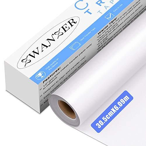 TransferfoliePlotter 30.5cm*6.09m für Vinyl - Transparenten Übertragungsfolie Plotter für Zeichen Aufkleber, Abziehbilder, Wände Türen und Fenster