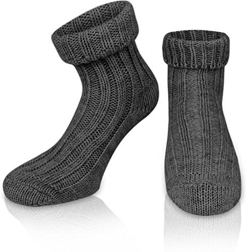 normani 2 Paar Sehr Warme weiche Umschlag Söckchen mit Alpaka Wolle/Bettsocken/Sauna Socken Farbe Anthrazit Größe 39-42