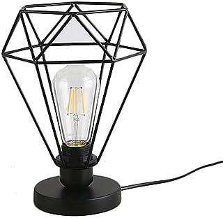 SMEJS Lámpara de Mesa lámpara pequeña Lámparas industriales Retro Lámpara de Mesa con Pantalla de Metal Negro