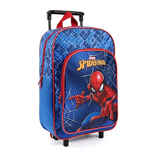 PERLETTI Mochila con Ruedas Marvel Spiderman para Niños - Bolsa Escolar Niño Guardería Viajes Tiempo Libre con Bolsillo Frontal - Mochila Trolley Hombre Araña para Chicos Azul Rojo - 36x25x12 cm