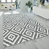 Alfombra De Salón Pelo Corto Moderna Motivo Geométrico Rombos Gris Blanco, tamaño:160x220 cm